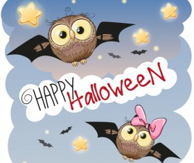 halloween cartoon owl vector 02