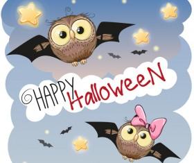 halloween cartoon owl vector 02