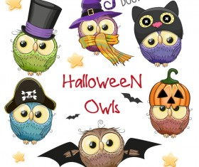 halloween cartoon owl vector 03
