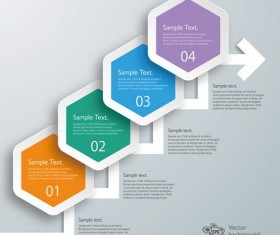 hexagon with paper infographic template vector 02