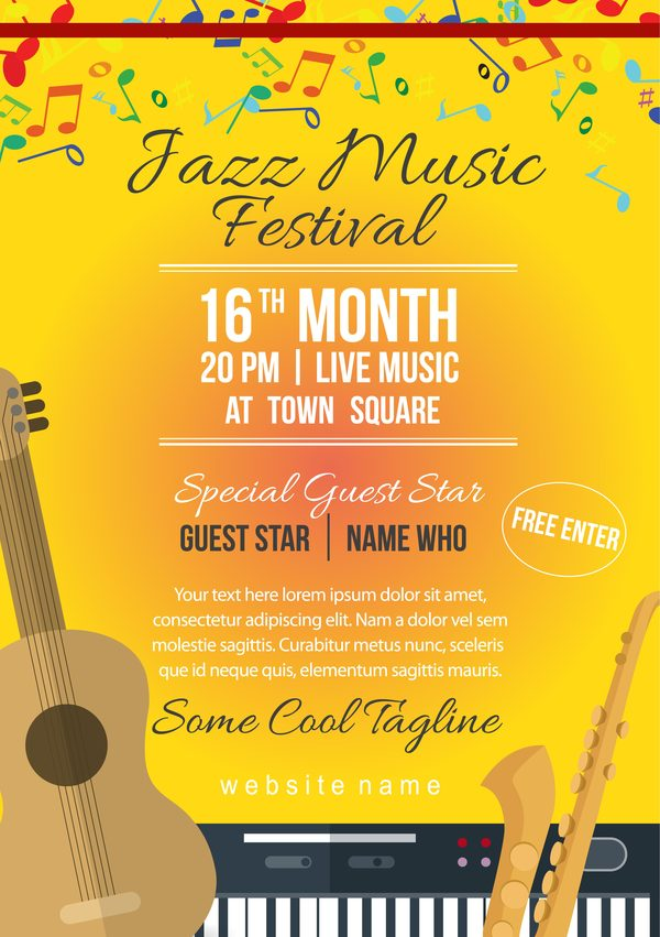 jazz festival poster vector template