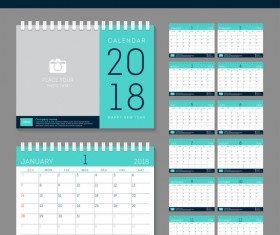 light green disk calendar 2018 templates vector