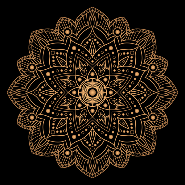 mandala golden pattern vector