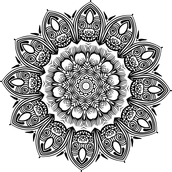 mandala lineart ornament vector material 02