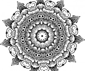 mandala lineart ornament vector material 03