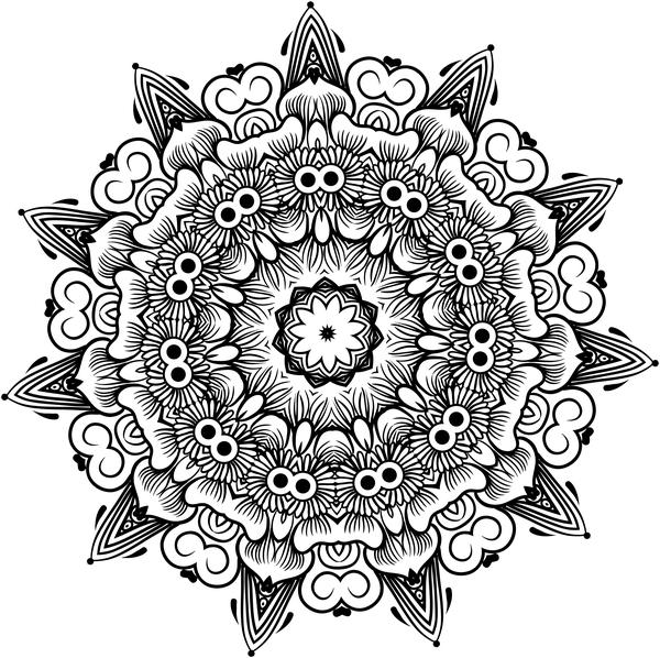 mandala lineart ornament vector material 04