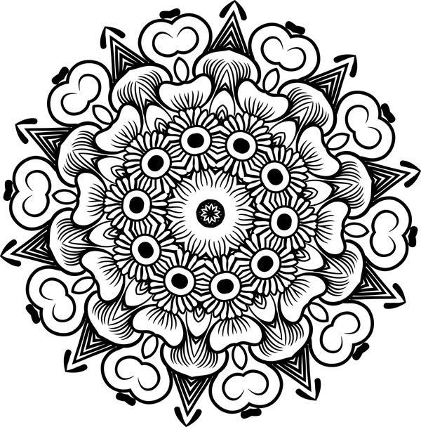 mandala lineart ornament vector material 05