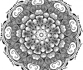 mandala lineart ornament vector material 06