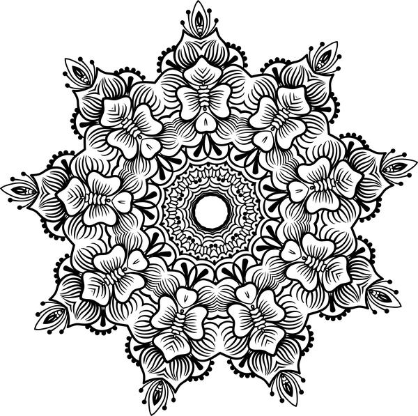 mandala lineart ornament vector material 07