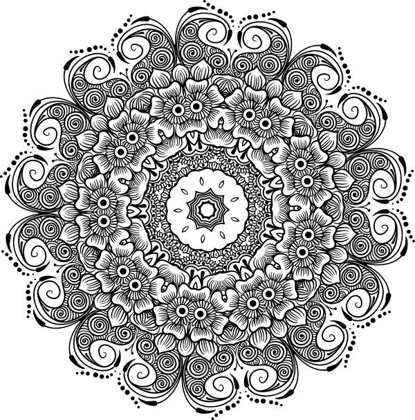 mandala lineart ornament vector material 08