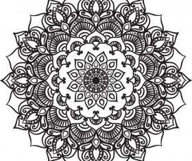 mandala lineart ornament vector material 11