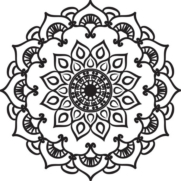 mandala lineart ornament vector material 13