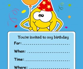 monster with birthday card vectors 01