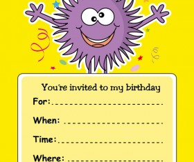 monster with birthday card vectors 02