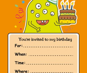 monster with birthday card vectors 04