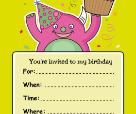 monster with birthday card vectors 05