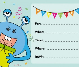 monster with birthday card vectors 06