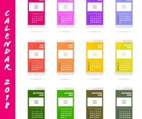 phone 2018 calendar interface vector