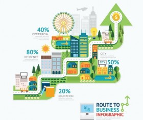 route business infographic vector 01