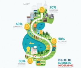 route business infographic vector 02
