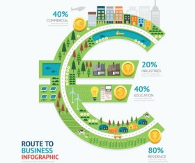 route business infographic vector 03
