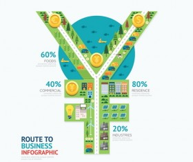 route business infographic vector 04