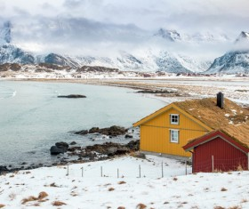 small house on the ocean shore of the winter Stock Photo