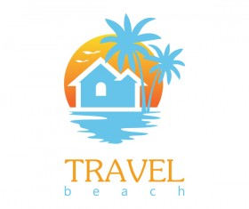 travel beach logo vector
