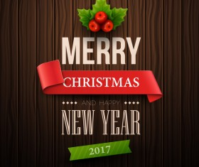 2017 christmas with happy new year wooden background vector