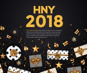 2018 New year card black and gold vector design 03