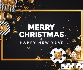 2018 New year card black and gold vector design 04