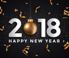2018 New year card black and gold vector design 05