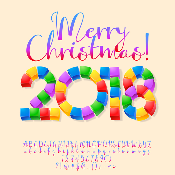 2018 christmas text with alphabet and number vector