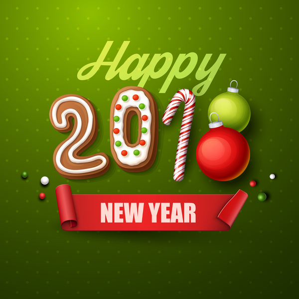 2018 happy new year green background vector