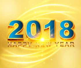 2018 happy new year yellow background vector