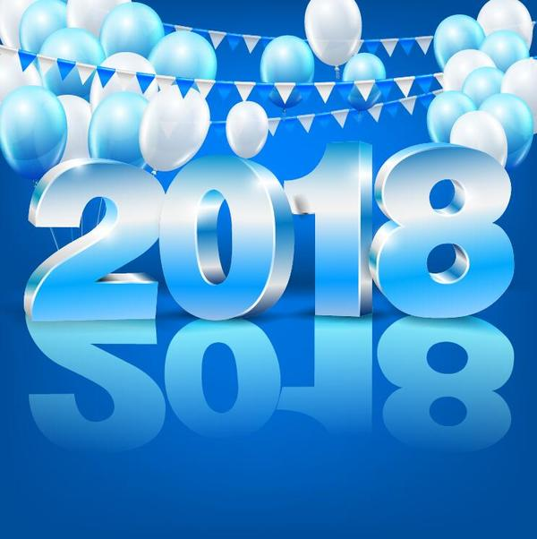 2018 new year background with balloons vector