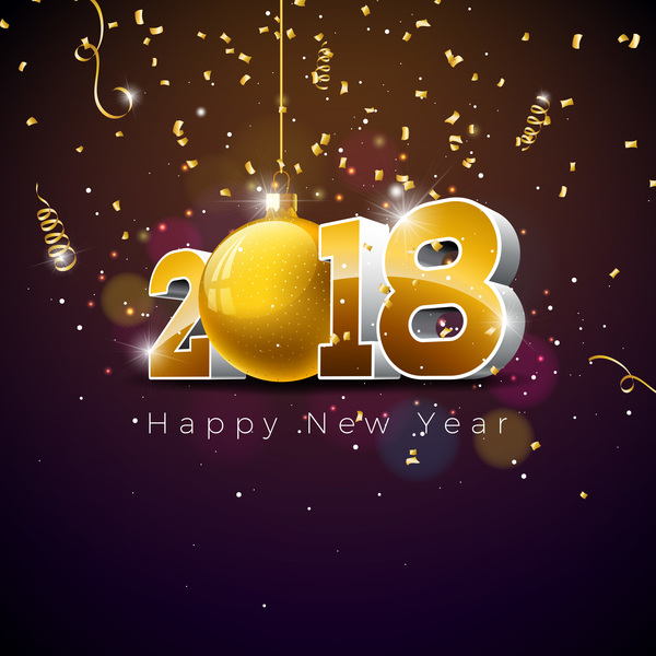 2018 new year background with confetti vector material 01