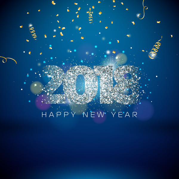 2018 new year background with confetti vector material 02