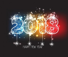 2018 new year background with firework effect vector