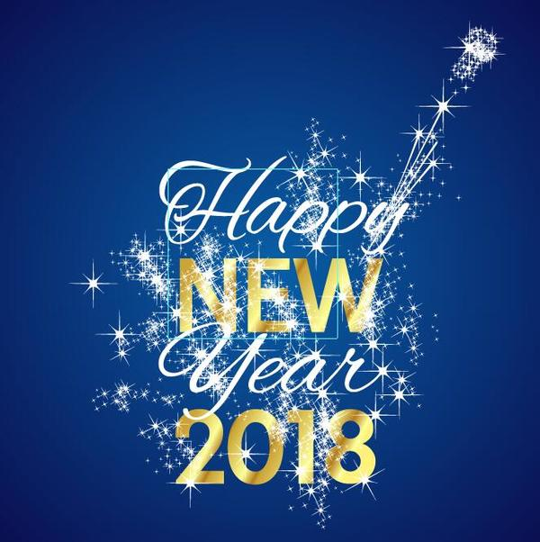 2018 new year background with shining stars vectors