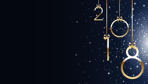 2018 new year blue background vector material