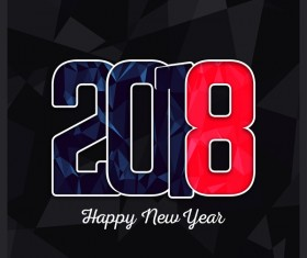 2018 new year geometric shape dark background vector