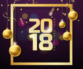 2018 new year golden frame with decor balls vector
