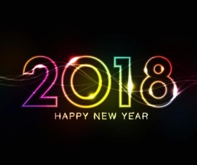 2018 new year neon effect design vector