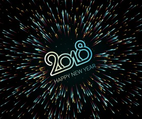 2018 new year shining vectors background 01