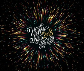 2018 new year shining vectors background 02