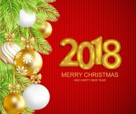 2018 new year with christmas red fabric background vector