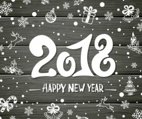 2018 new year wooden background with decor vector