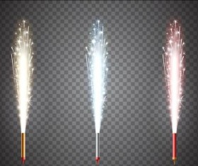 3 Kind festival fireworks illustration vector
