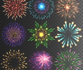 6 firework effect vector illustration